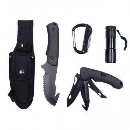 MFH-Set couteau avec LED et gaine en nylon, noir-4835